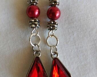 Red OR Pink Drop Earrings