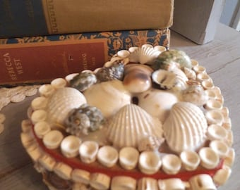 vintage Sea shells HEART box ~ Ring Box Wedding Romantic Love Beach cottage