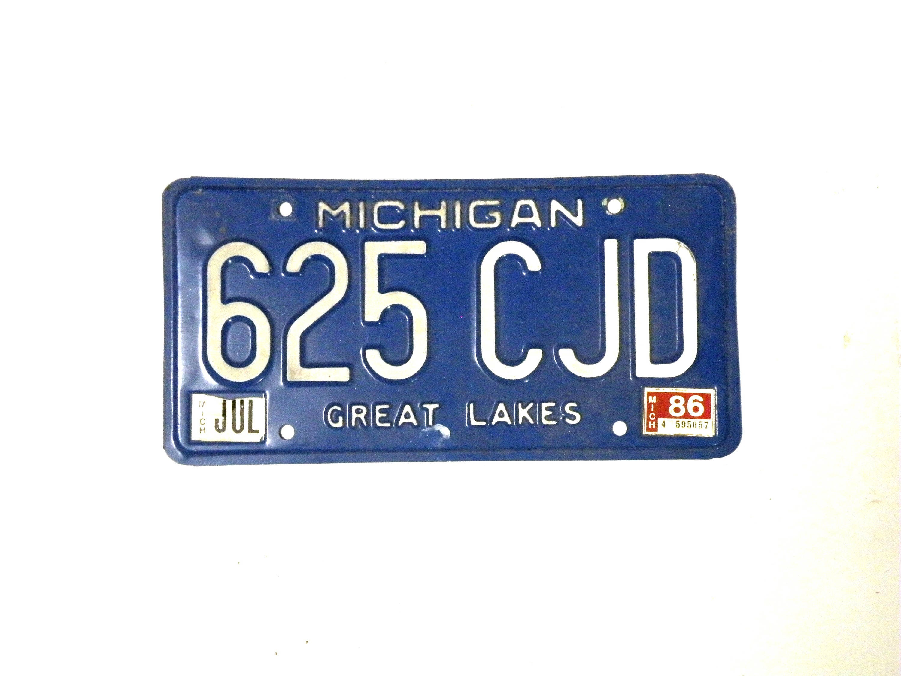 Michigan License Plate Great Lakes License Plate Vintage Metal