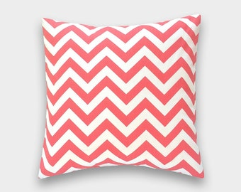 CLEARANCE 50% OFF Coral Pillow Cover. Chevron Accent Pillow. Pick a Size. Pink and White. Coral and White. Chevron Pillow Cover.