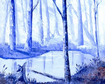 Blue Serenity Forest Glade 16x16 Inch Wrapped Canvas Acrylic Painting