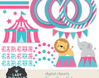 Funny Circus Girl Printable Digital Cliparts. Digital clip art set - For Personal and Small Commercial Use.
