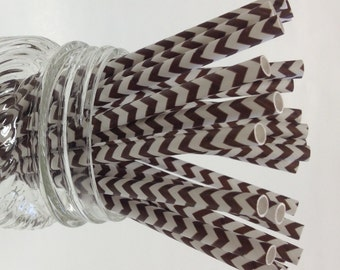 50 Chocolate Brown Chevron Paper Straws - Perfect for Parties - Favors--Free Editable DIY Tags PDF