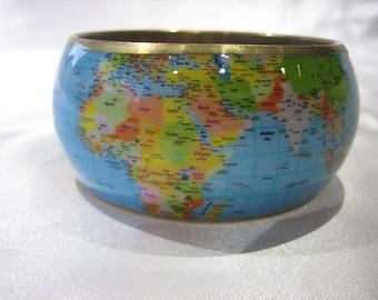 Vintage Gold Tone World Map Wide Bangle Bracelet