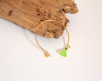 Fine gold, green tassel Bangle Bracelet
