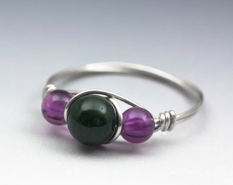 Bloodstone Heliotrope & Amethyst Gemstone Silver Wire Wrapped Bead Ring - Made to Order, Ships Fast!
