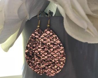 Rose Gold Glitter Oval Dangles