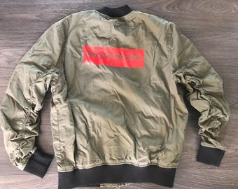 BluCloudRadio Bomber Coat (Army Green/Red)
