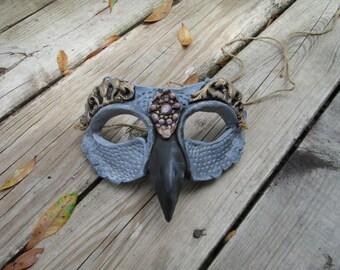 Grey Gull, mask, beaked mask, masquerade mask, costume mask, fantasy, guardian, custom made, half face mask
