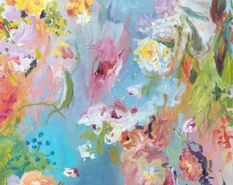 Sublime New flower impressionistic oil painting on stretched canvas.