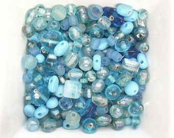 Assortment of blue shades glass Indian beads