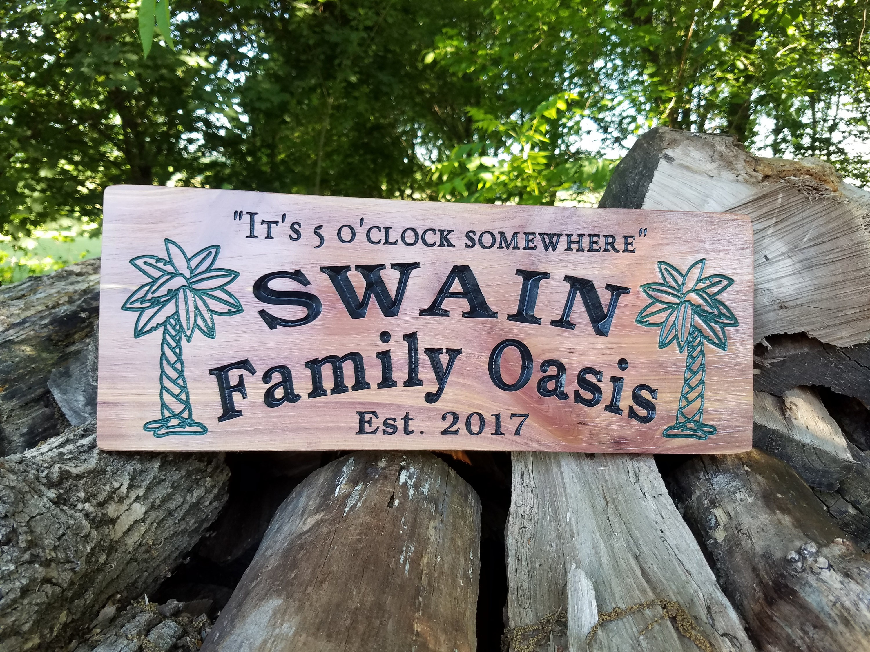 Fresh Family Oasis Swimming Pool Last Name Personalized Wooden Carved  BM32