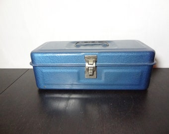 Vintage Rustic/Industrial Blue Metal Tool Box for Tackle, Tools, Sewing, or Garden, Storage or Organization