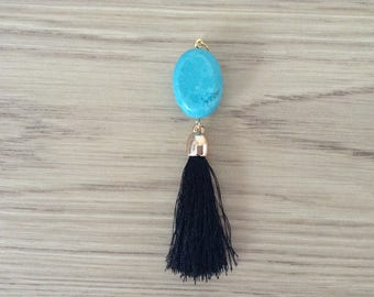 Pearl stone reconstituted with tassel pendant