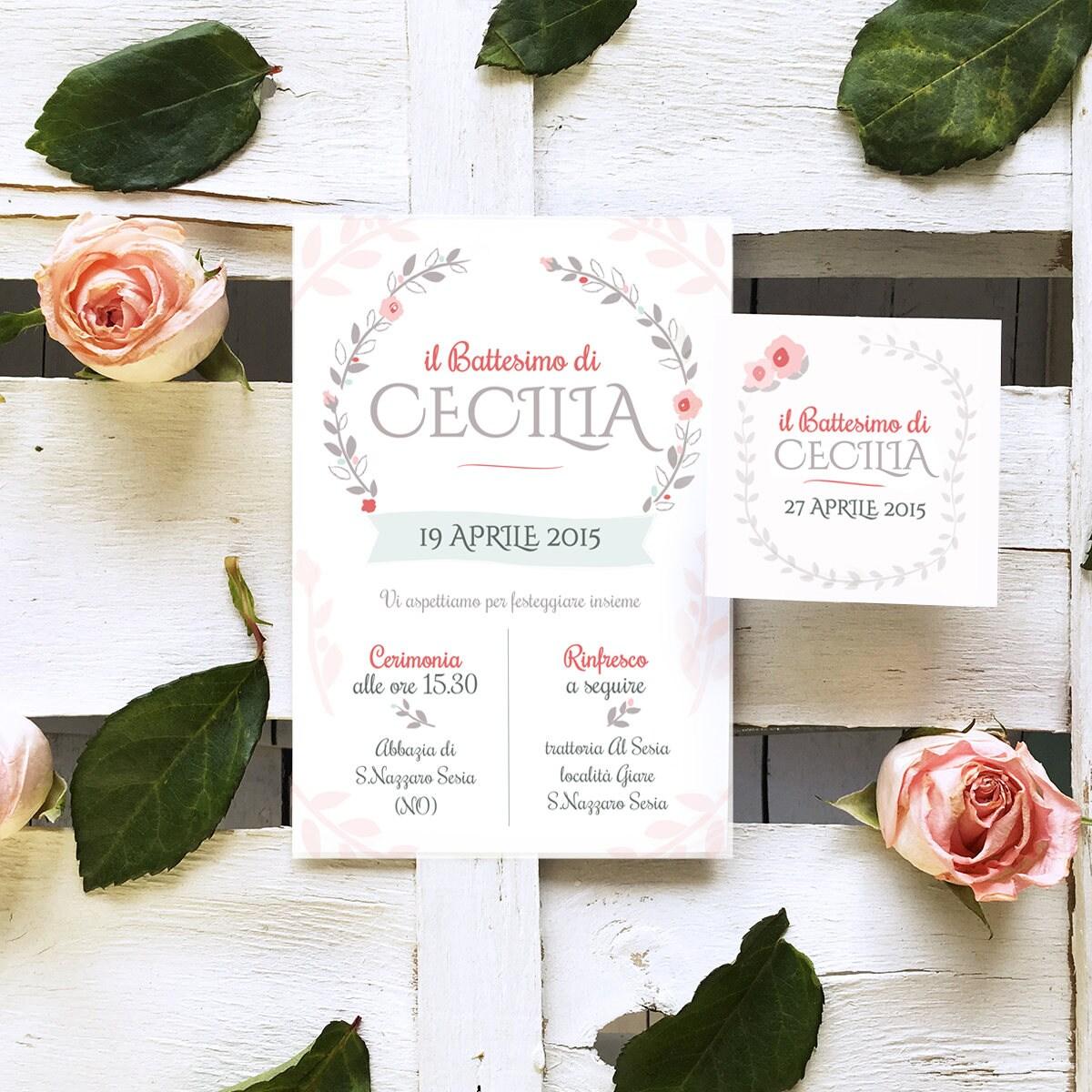 Amato Inviti festa 'Cecilia' shabby chic . Printable da XB33