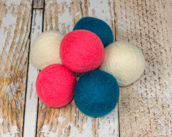 Felted Wool Dryer Balls - Felted Wool Laundry Balls - Eco-Friendly Laundry Balls - Chemical Free Laundry - Peacock Creme and Coral - cat toy