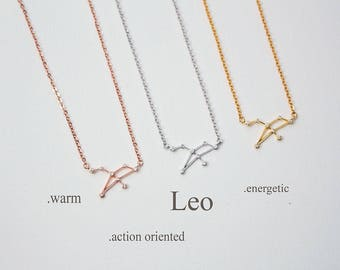 Constellation Necklace, Zodiac Necklace, Leo Zodiac Sign Necklace, Constellation Necklace, Birthday Gift, Gift for Her,Zodiac Jewelry-ZDS