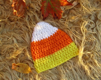 Candy Corn Hat Knit Baby Hat Infant Halloween Hat Crochet Candy Corn Beanie Baby Shower Gift Newborn Photo Prop Handmade Fall Halloween Hat