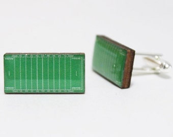 Football Field Cufflinks | NFL CFL sports players canadian american soccer mens accessories fashion nostalgic links etsy gifts for him