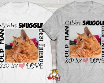 PERSONALIZED  CAT TSHIRT- Cat on T-shirt -  Custom Cat Tshirt - Custom Printed Cat T-shirt -  Cat Lover Gift Tshirt - Pet Portrait