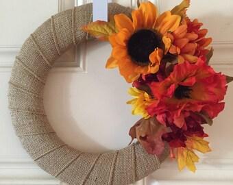 Fall Autumn Seasonal Floral Door Wreath.