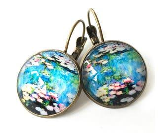 Monet's Water Lilies Antique Brass Dangle Earrings
