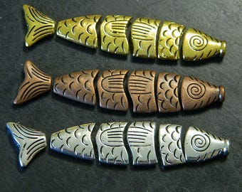 72MM Greek Worry Fish in Gold, Copper and Silver - Metal Zinc Alloy Greek Worry Fish Beads - Metal Fish Beads - 1 Greek Worry Fish / 6 Beads