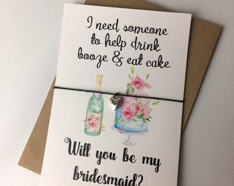 Wish Bracelet / Charm Bracelet / Friendship Bracelet / Wedding / Will you be my bridesmaid / Funny / Wedding Favour / Bridesmaid Gift