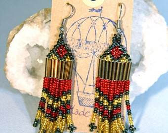 MADE IN AFRICA beaded bohemian earrings//  red & gold
