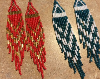 "Beaded 4 1/2"" Earrings, Your Choice Color"
