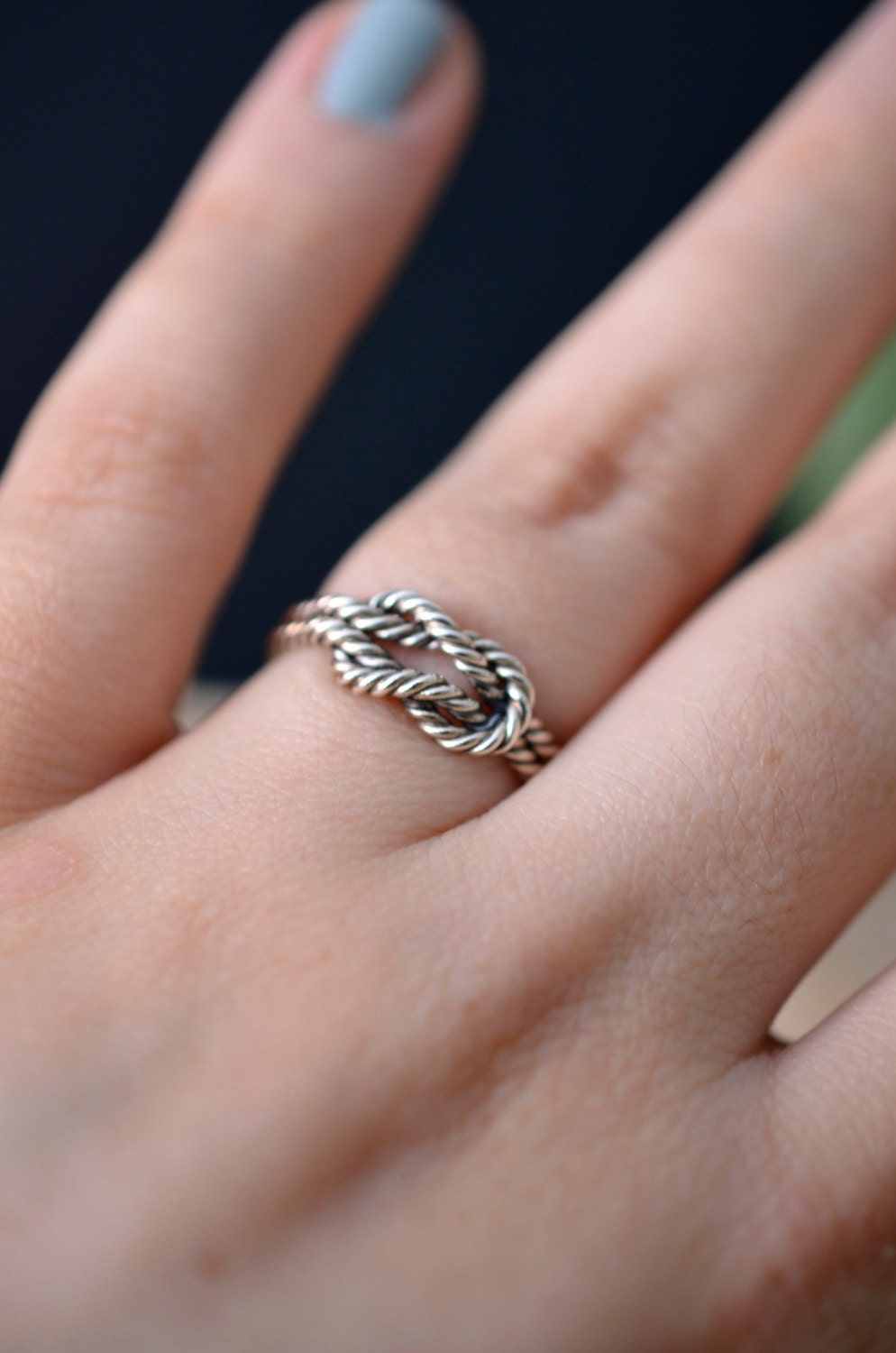 Knot ring in sterling silver twisted engagement ring nickel
