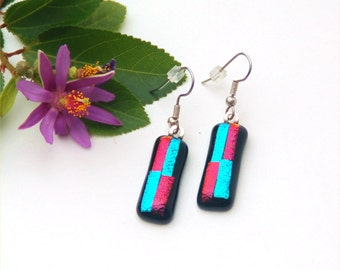 28 Fused dichroic glass earrings, turquise and red