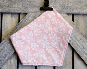 Bandana Bib-Baby Shower Gift-Damask Bib-Light Coral-Drool Bib-Dribble bib- Baby Gift- Kerchief Bib- Baby Girl Gift