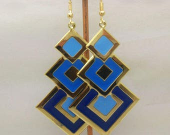 lovely blue enamel earrings