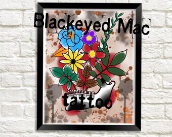 Skull jaw flowers tattoo style painting art