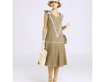 Sleeveless Great Gatsby dress in olive green & grey, 1920s flapper dress, 1920s high tea dress, Gatsby party dress, Downton Abbey tea dress