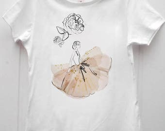 Lovely new t-shirt white cotton elegant and classy Audrey Hepburn peonies dress Illustration limited edition