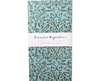 24 sheets of Tissue Paper Aqua bLue & Floral  Vines - 100% recycled 15 x 20 inch Tissue Paper for Packaging, Weddings, Gift Wrapping