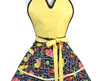 Flirty Pinup Apron - Womens Yellow Summer Watermelons Kitchen Apron - Sexy Cute Sweetheart Apron with 2 Skirts and Pocket - Monogram Option