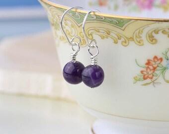 February Birthstone Earrings, Purple Amethyst Earrings, Sterling Silver Earrings, Amethyst Gemstones, Dainty Jewelry, Mini Drop Earrings