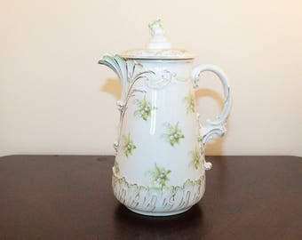 Victorian Hot Chocolate Pot – Austria – Lily of the Valley with Gilt Trim