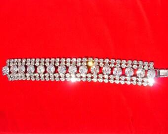Vintage Silver Tone and Clear Rhinestone Bracelet