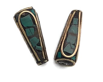 2 beads Tibetan Turquoise and Bronze - cone shaped - 1 A067