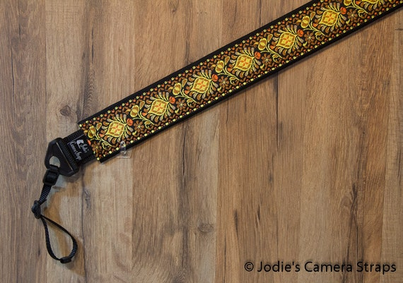 Camera Strap 2 in Wide Custom Padded Shells Yellow Brown DSLR SLR 6453 Last One!