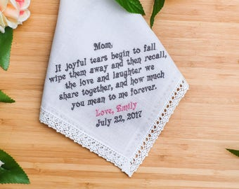 Mother of the Bride Handkerchief. Embroidered Handkerchief Gift for mom. Custom Handkerchief. Handkerchief gift , Personalized Handkerchief
