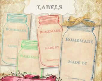 Mason Jar stampabile tag, etichette di paese, Canning Jar etichette, tag digitale, DOWNLOAD immediato