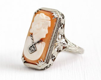 Sale - Vintage Cameo Ring - Rectangular Antique Size 6 1/4 Art Deco 14k White Gold Filigree - Diamond Habillé Carved Shell Fine Jewelry