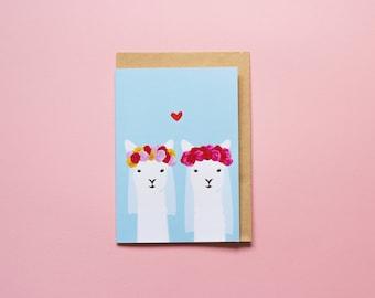 Lesbian Wedding Llamas - Greeting card