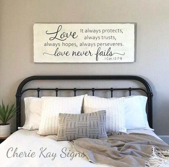 Nice Master Bedroom Wall Decor Love Never Fails 1 Corinthians