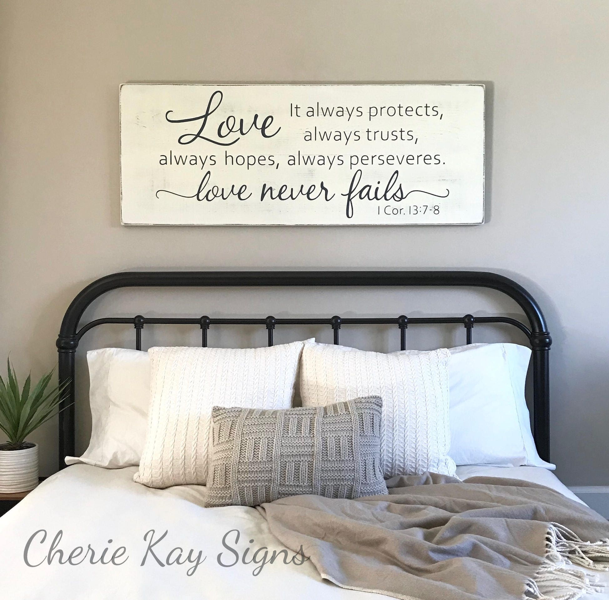 Wall Colour Inspiration: Master Bedroom Wall Decor Love Never Fails 1 Corinthians
